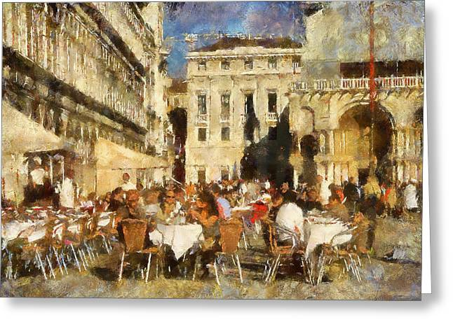 Venice Tour Greeting Cards - St. Mark Square in Venice Greeting Card by Yury Malkov