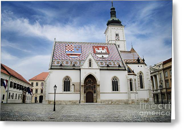 Red-roofed Buildings Greeting Cards - St. Marks Church Greeting Card by Jelena Jovanovic