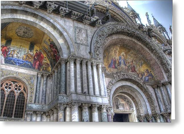 The Piazza Greeting Cards - St Marks Entry - Venice Italy Greeting Card by Jon Berghoff