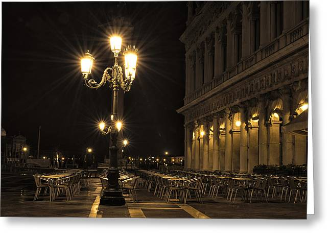 Night Cafe Photographs Greeting Cards - St Marks Square at night Greeting Card by Marion Galt