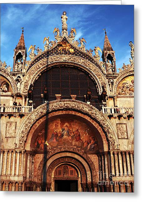 Basillica Greeting Cards - St. Marks Square Greeting Card by John Rizzuto