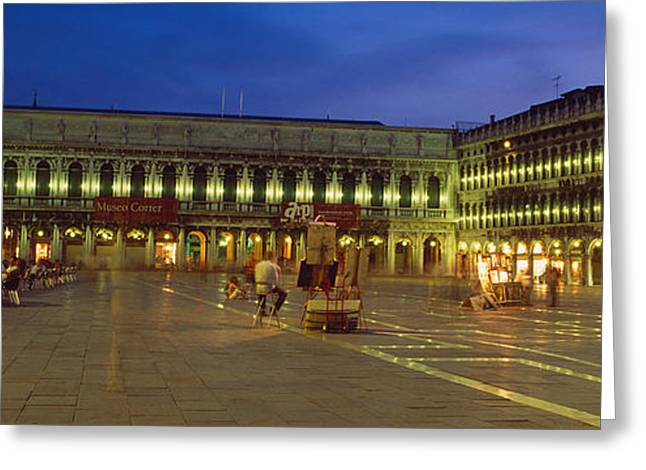 St. Marks Square Lit Up At Night Greeting Card by Panoramic Images