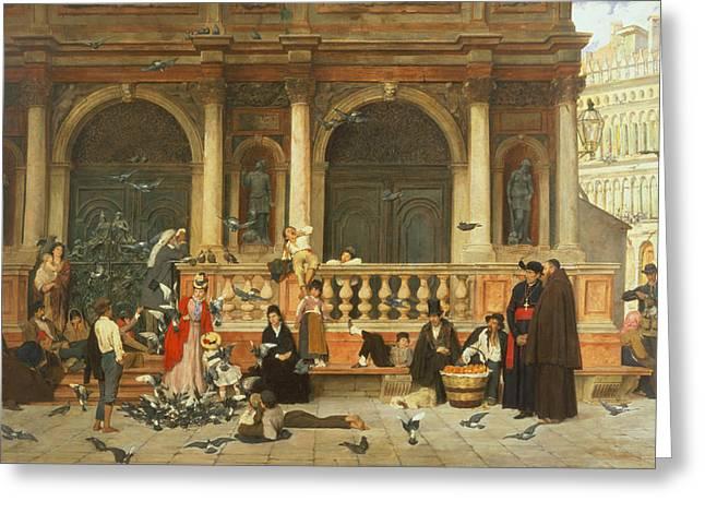 Feeding Greeting Cards - St. Marks, Venice Greeting Card by Adolf Echtler