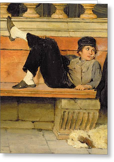 Lazy Dog Greeting Cards - St. Marks, Venice, Detail Of A Boy Greeting Card by Adolf Echtler