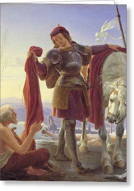 St. Martin And The Beggar, 1836 Oil On Canvas Greeting Card by Alfred Rethel