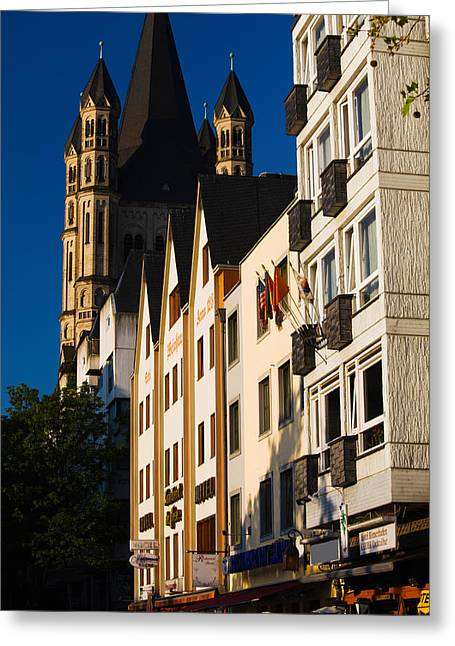 Cologne Greeting Cards - St. Martin Church And Rhein Embankment Greeting Card by Panoramic Images