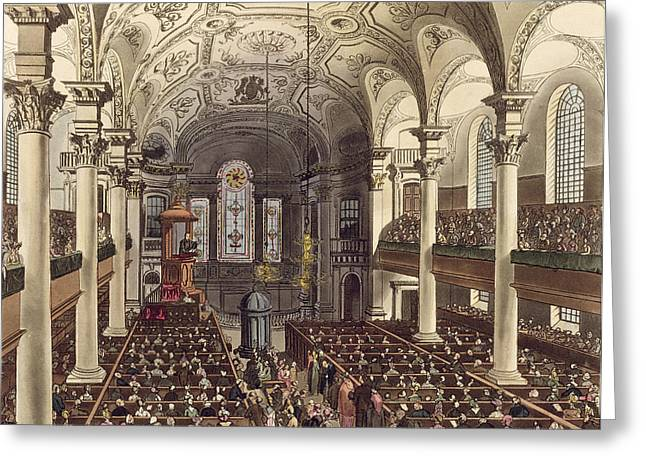 Vaulted Ceilings Greeting Cards - St Martins In The Fields Greeting Card by T. & Pugin, A.C. Rowlandson
