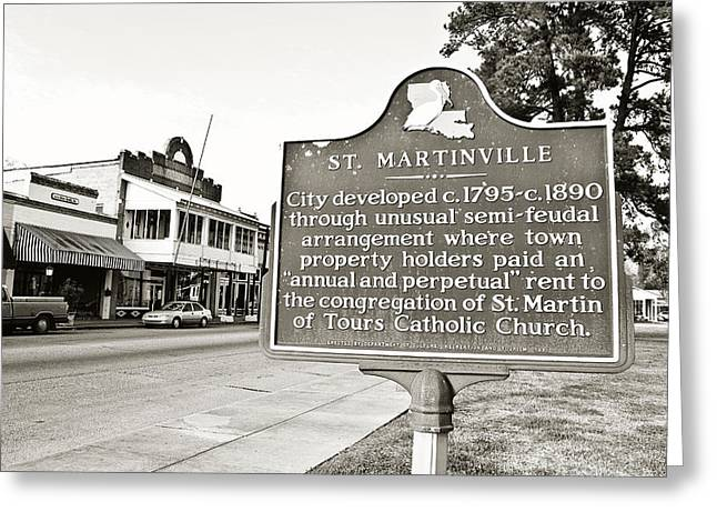 Acadian Greeting Cards - St. Martinville Historic Marker Greeting Card by Scott Pellegrin