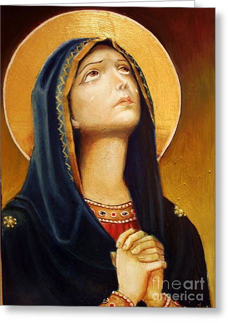 Religious Paintings Greeting Cards - St Mary Icon Greeting Card by Sorin Apostolescu
