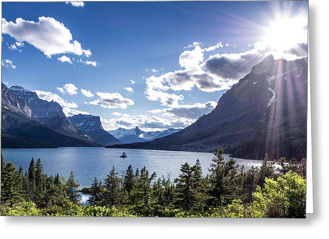Flares Greeting Cards - St. Mary Lake Greeting Card by Aaron Aldrich