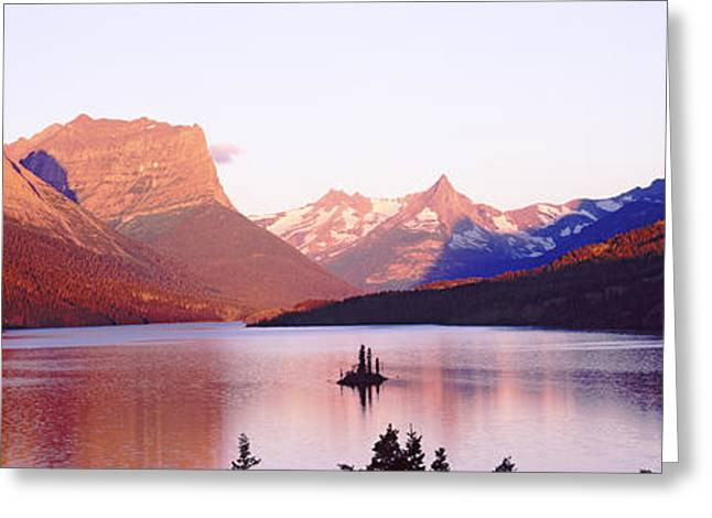 St. Mary Lake At Us Glacier National Greeting Card by Panoramic Images