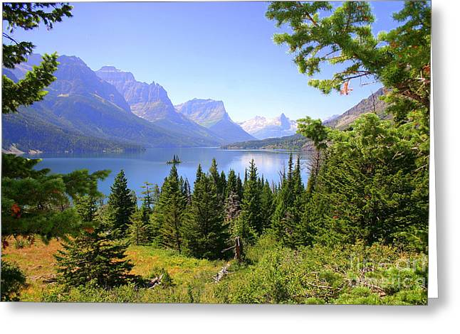 West Glacier Greeting Cards - St. Mary Lake Greeting Card by Bob Hislop