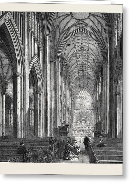 St. Mary Redcliff Bristol In Process Of Restoration Greeting Card by English School