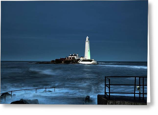 St. Mary S Island And Lighthouse Greeting Card by John Short