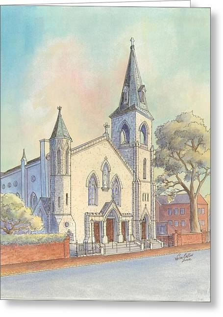 Church Pillars Paintings Greeting Cards - St Marys Church Greeting Card by Leisa Collins