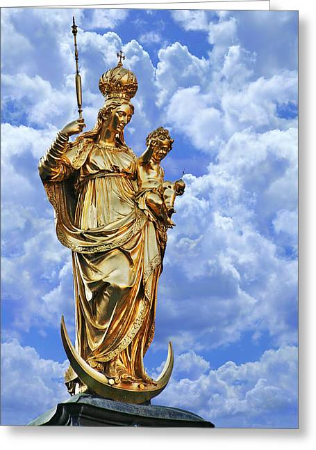 European Cities Greeting Cards - St Marys Column Marienplatz Munich Greeting Card by Christine Till