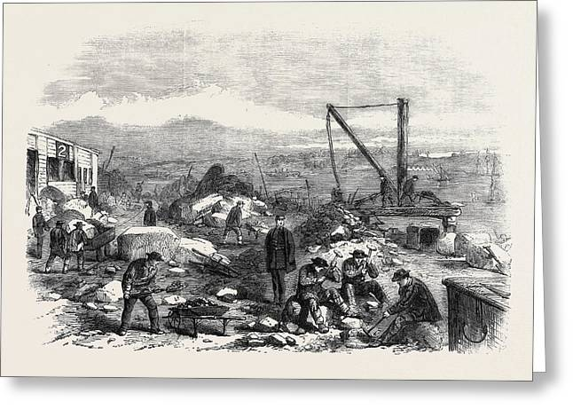 St. Marys Island The Convicts At Labour Chatham Prison 1861 Greeting Card by English School