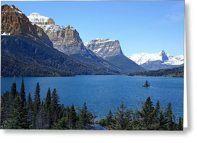 Snow Capped Greeting Cards - St Marys Lake - Glacier Park Greeting Card by Daniel Hagerman