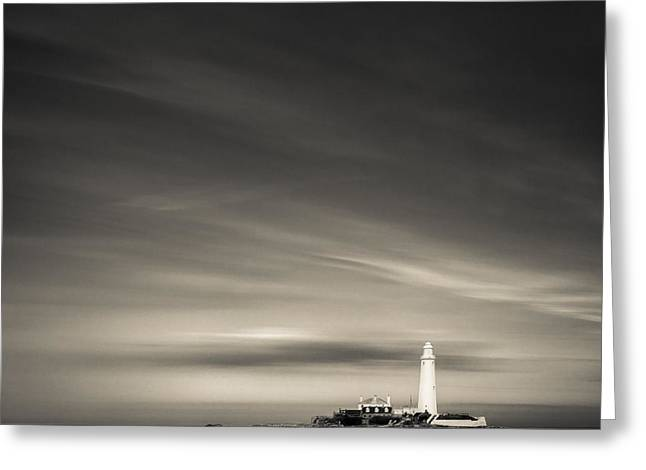North Sea Greeting Cards - St. Marys Lighthouse Greeting Card by Dave Bowman