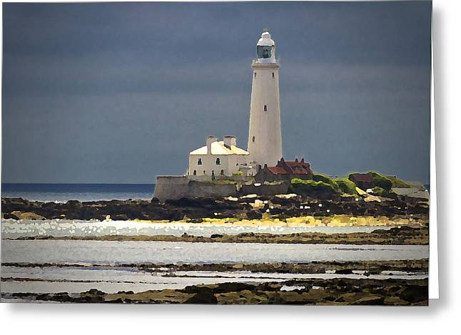Pallet Knife Photographs Greeting Cards - St Marys Lighthouse Greeting Card by Jim Jones