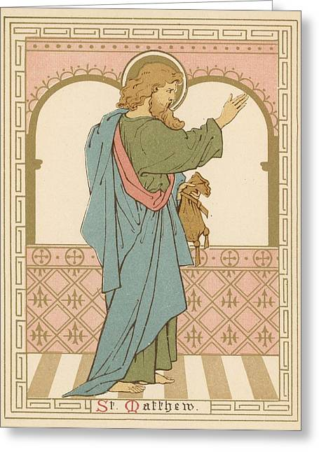 Lithograph Drawings Greeting Cards - St Matthew Greeting Card by English School