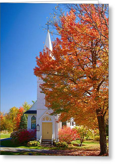 """autumn Foliage New England"" Greeting Cards - St Matthews in Autumn splendor Greeting Card by Jeff Folger"