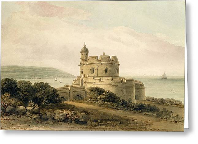 Ocean Landscape Drawings Greeting Cards - St Mawes Castle Greeting Card by John Chessell Buckler