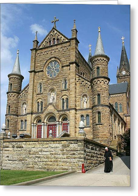 Indiana Images Digital Art Greeting Cards - St. Meinrad Archabbey-Front View Greeting Card by Thia Stover