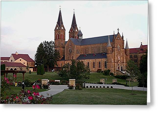 Catholic Tapestries - Textiles Greeting Cards - St. Meinrad Archabbey Greeting Card by Thia Stover