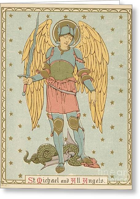 Red Letter Days Greeting Cards - St Michael and all Angels by English School Greeting Card by English School