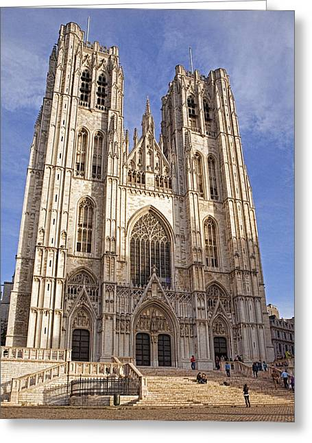 Ecclesiastics Greeting Cards - St Michael and St Gudula Cathedral Greeting Card by Stephen Barrie