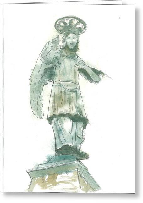 St Piran Greeting Cards - St. Michael from Piran Greeting Card by Marko Jezernik