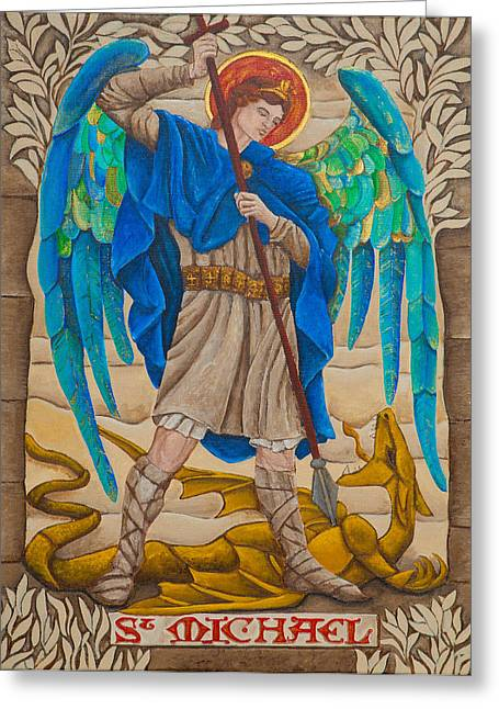 Archangel Drawings Greeting Cards - St. Michael Greeting Card by Jason Honeycutt