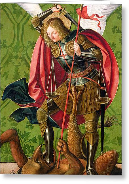 Overcome Greeting Cards - St. Michael Killing the Dragon  Greeting Card by Josse Lieferinxe
