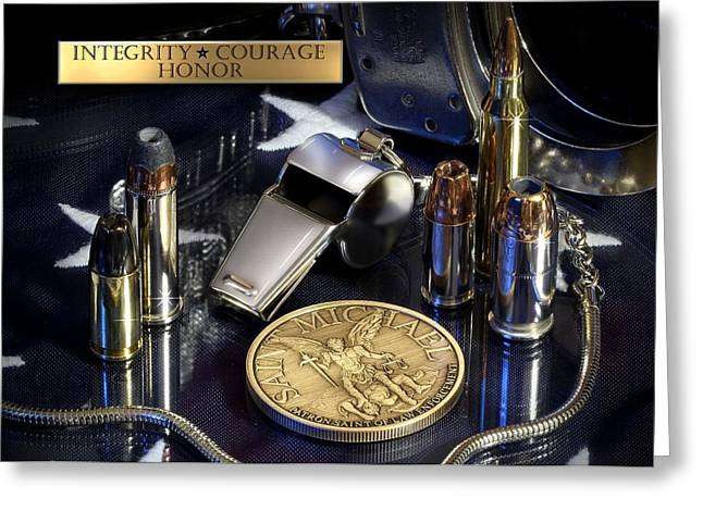 Guns Photographs Greeting Cards - St Michael Law Enforcement Greeting Card by Gary Yost