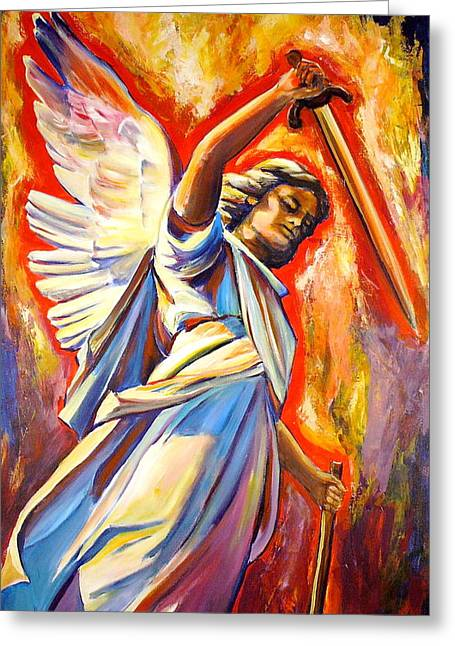 Kitchener Paintings Greeting Cards - St. Michael Greeting Card by Sheila Diemert