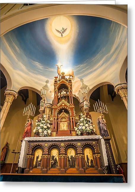 Catholic Greeting Cards - St. Michael the Archangel Church altar Greeting Card by Andy Crawford