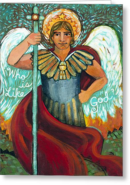 Daniel Paintings Greeting Cards - St. Michael the Archangel Greeting Card by Jen Norton