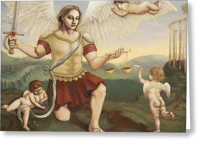 St. Michael The Archangel Greeting Card by Shelley Irish