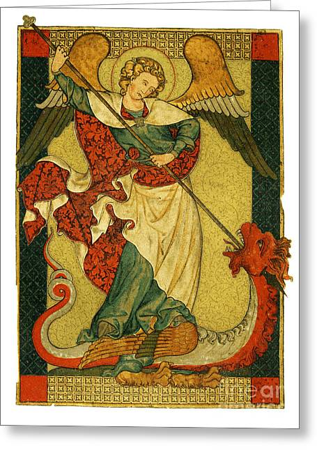 Archangel Mixed Media Greeting Cards - St Michael triumphant over the devil antique painting Greeting Card by Christos Georghiou