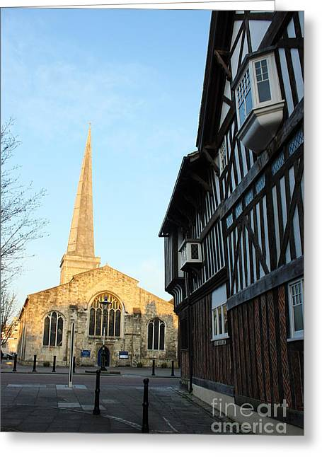 Terri Waters Greeting Cards - St Michaels Church and Tudor House Southampton Greeting Card by Terri  Waters