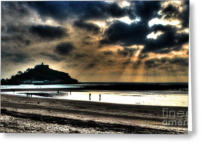 Sand Castles Mixed Media Greeting Cards - St. Michaels Mount Greeting Card by Anthony Hedger