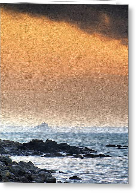 Ocean Vista Greeting Cards - St Michaels Mount Bay Marazion sunrise digital painting Greeting Card by Matthew Gibson