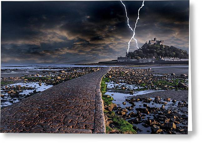 Lightning Photographs Photographs Greeting Cards - St Michaels Mount Cornwall Greeting Card by Martin Newman