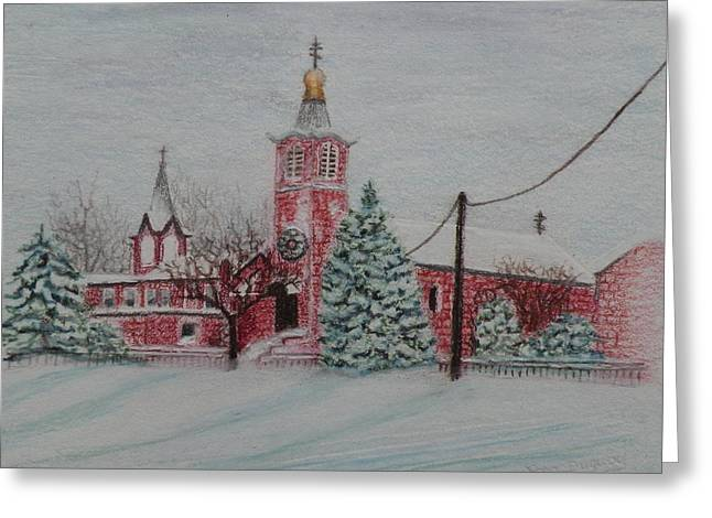 Best Sellers -  - Nicholas Greeting Cards - St. Nicholas Church Roebling New Jersey Greeting Card by Lora Duguay