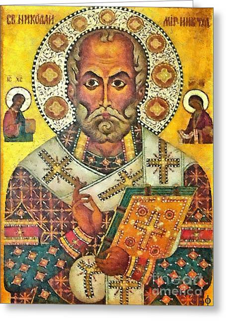 Nicholas Mixed Media Greeting Cards - St Nicholas icon Greeting Card by Dragica  Micki Fortuna