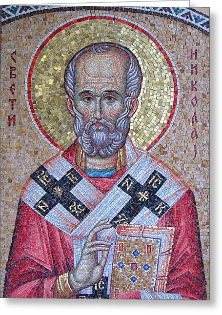 St Nicholas Icon Greeting Cards - St Nicholas Greeting Card by Milan Pilipovic
