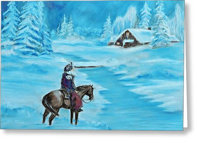 Snowy Night Night Pastels Greeting Cards - St. Nicholas Greeting Card by Patricia Olson