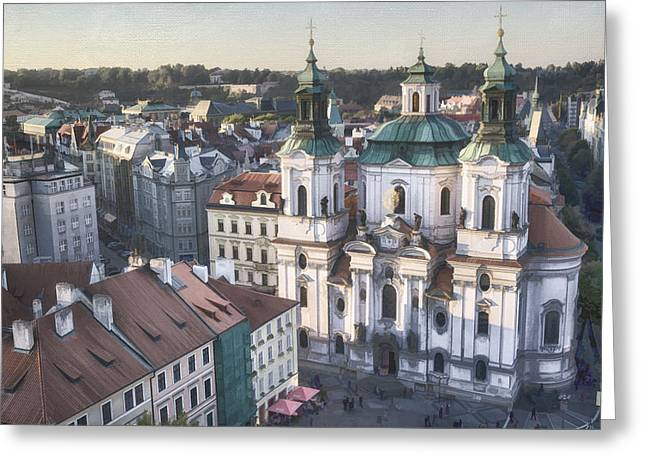 Religious Greeting Cards - St Nicholas Prague Greeting Card by Joan Carroll