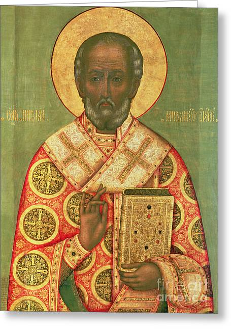 St Nicholas Icon Greeting Cards - St. Nicholas Greeting Card by Russian School